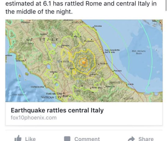 screenshot of earthquake in Central Italy