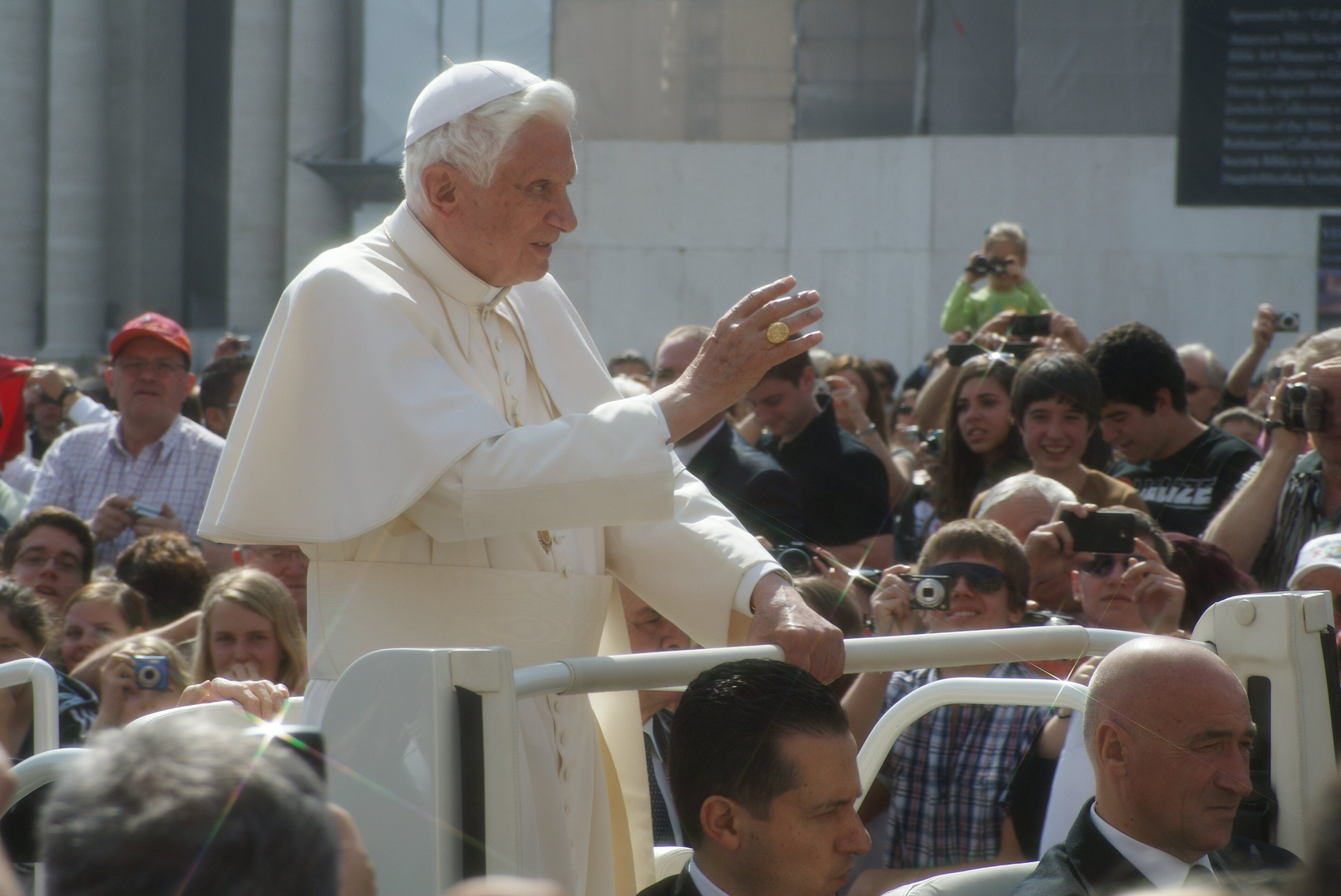 Pope Benedict XVI in Rome, Italy during an outdoor service