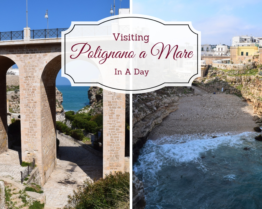 Visit Polignano a Mare, Italy and see beautiful turquoise crystal clear water and the beautiful cliffs and caves. ouritalianjourney.com