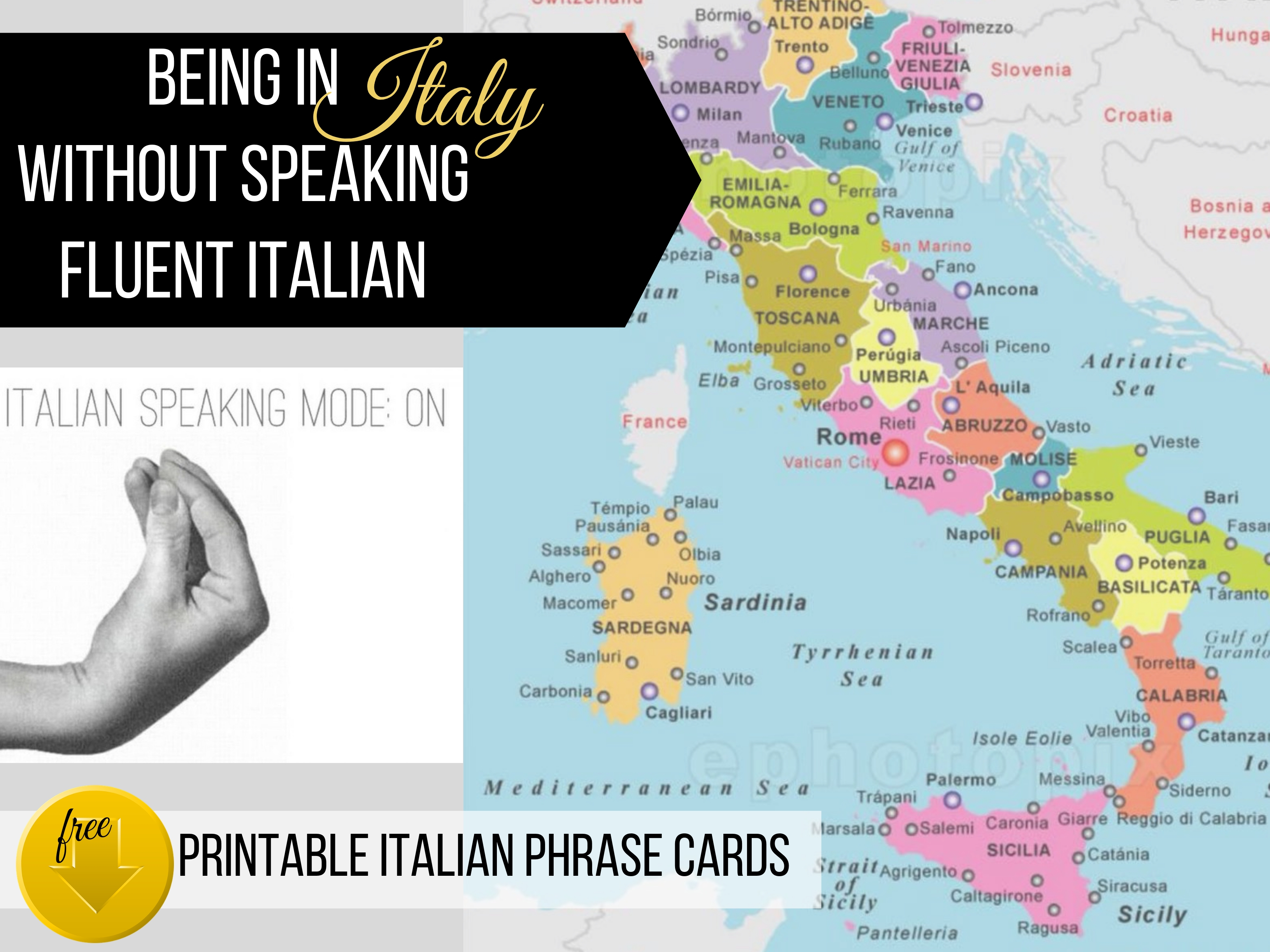 In Italy not speaking fluent Italian. Free download printable Italian Phrase Cards from ouritalianjourney.com https://ouritalianjourney.com/being-in-italy-without-speaking-fluent-italian