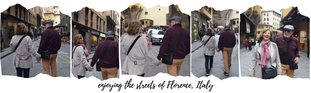 Gary & Ilene on the streets of Florence, Italy, ouritalianjourney.com