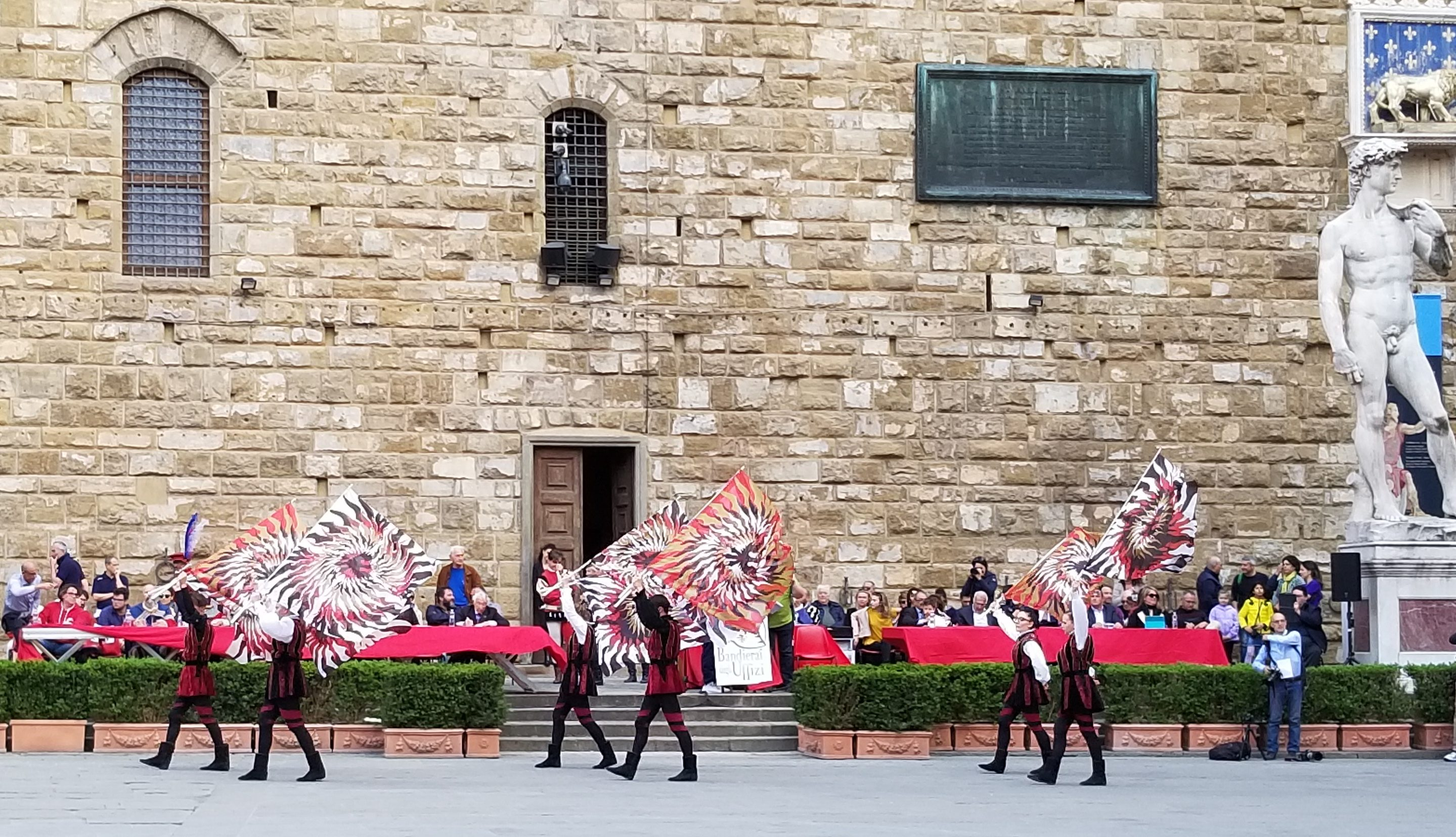 The Bandierai of the Uffizi throw the flag in medieval costumes. They are officials of Florence, Italy. ouritalianjourney.com. https://ouritalianjourney.com/bandierai-uffizi-florence