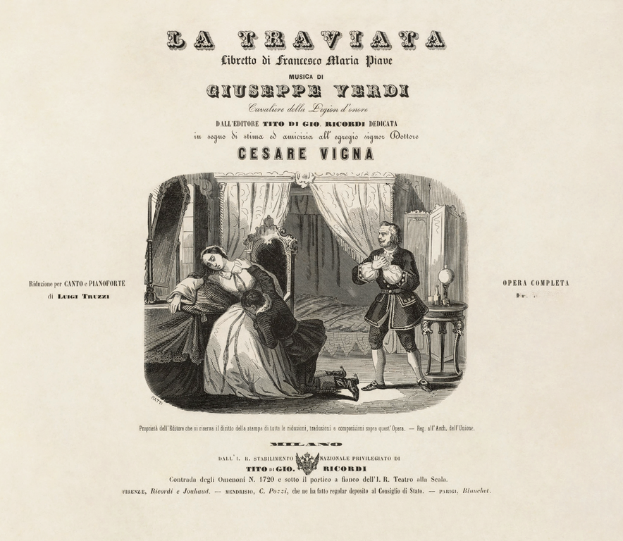 La Traviata opera by Giuseppe Verdi in Arena di Verona. Enjoy beautiful photos and video of the end of the performance. Title page of Giuseppe Verdi's score 1813-1901ouritalianjourney.com