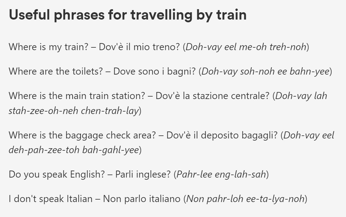 Train Travel in Italy, everything you need to do from purchasing tickets to finding your correct track. We have Great website links. ouritalianjourney.com