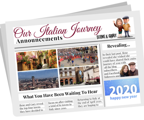 Exciting news and announcement for Our Italian Journey in 2020. News you have been waiting to hear; ouritalianjourney.com