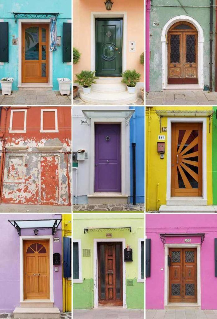 Colorful and beautiful Burano doors in Venice, Italy, ouritalianjourney.com