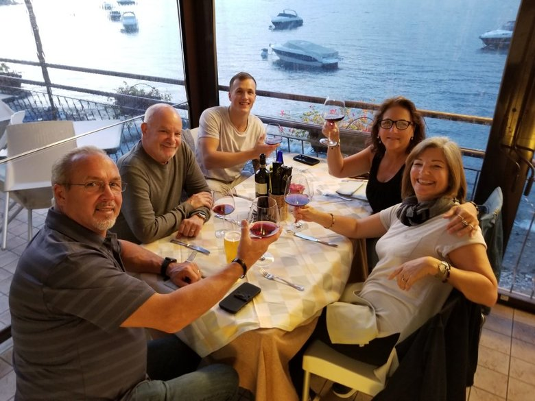 Dinner with friends in Lezzeno on Lake Como. Beautiful lake. ouritalianjourney.com