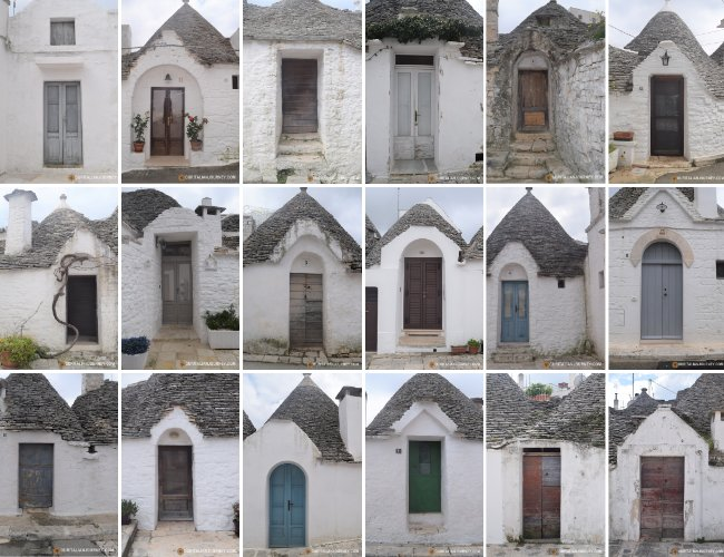 Door photos of Trulli in Alberobello, Puglia, Italy are a sight to behold. UNESCO, unique. ouritalianjourney.com