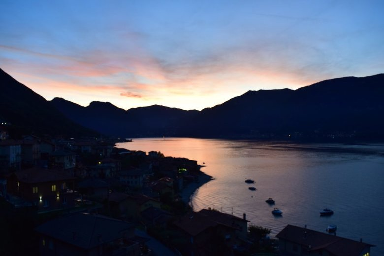 Sunset in Lezzeno on Lake Como, Italy. Beautiful lake. ouritalianjourney.com