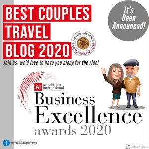 Best couples travel blog award issued for Our Italian Journey for 2020! Business excellence award.
