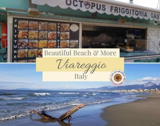 Viareggio, Italy beautiful beach, harbor and view of Carrara mountains. ouritalianjourney.com https://ouritalianjourney.com/viareggio-beach-italy