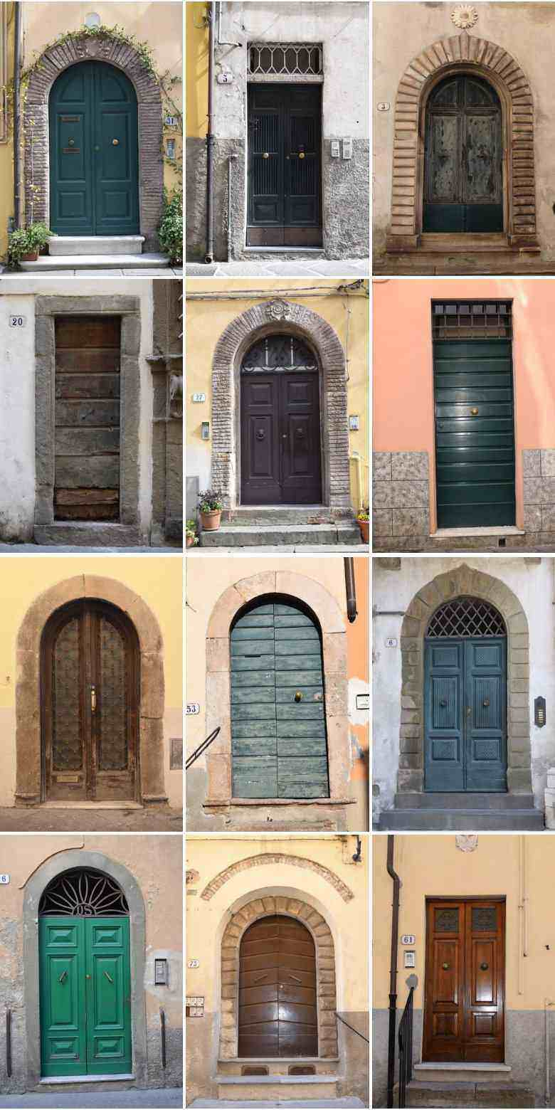 entry doors in Lucca, Italy. collage photo. ouritalianjourney.com