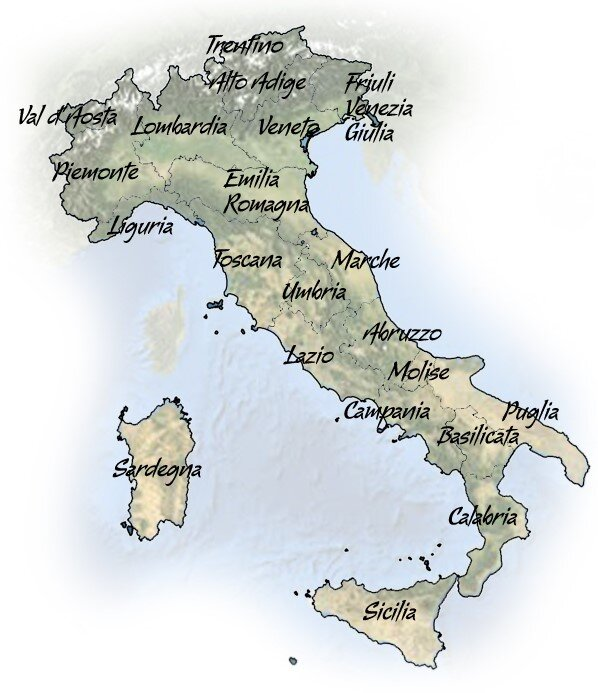 Map of Italy showing regions, ouritalianjourney.com