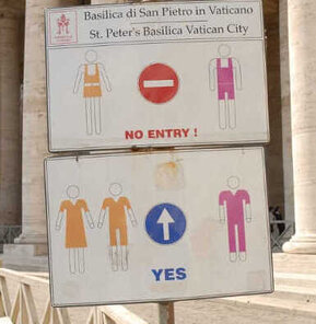 Entry sign for church - what you can't wear - ouritalianjourney.com